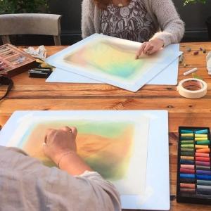 Pastelworkshop; Herfstcongres Allergie & Hooggevoeligheid Marijke de Vries kunstzinnige therapie beeldend