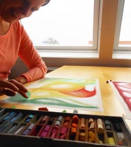 Cursus Intuitief Tekenen en Schilderen op vrijdagochtend KunstZIN Haarlem, Inger van der Werf