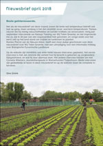 In deze nieuwsbrief van april 2018 o.a. de aankondiging een mooi verhaal over Wij Telen Groente in Haarlem