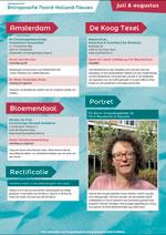 Nieuwsbrief met complete agenda van juli en augustus, ander nieuws uit Noord-Holland en het protret van Els Baron en het thema-artikel over het vrijeschool onderwijs.